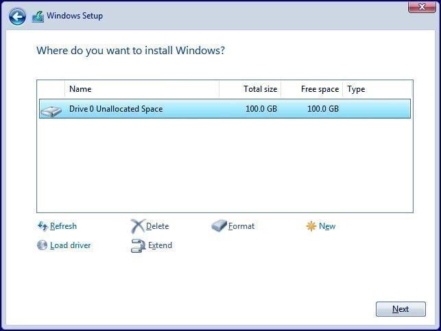 Windows'u nereye yüklemek istiyorsunuz
